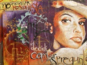 Graffiti of the face of a woman in Cuba